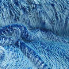 Blau kuscheliges Langhaar Kunstfell Stoff Jacke Decke Webpelz Stoff NB3500-20