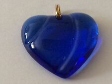 Slider Pendant Baccarat Romance Cobalt Blue Glass Heart Shaped Markers Mark