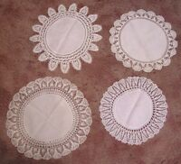 Vintage Doily Lot FOUR White with Crocheted Edging Needlework