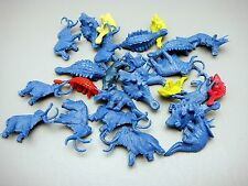 Large Lot Vintage Blue Prehistoric Dinosaurs From Playset Hong Kong Marked