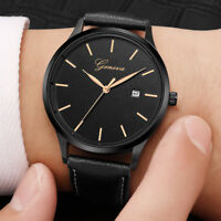 Men's Simple Fashion Leather Band Watches Casual Quartz Analog Alloy Wrist Watch