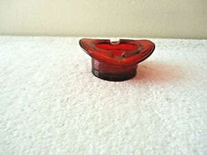 "Vintage Small Red Glass Hat Shaped Ashtray "" BEAUTIFUL COLLECTIBLE ITEM """