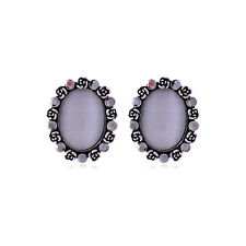 LOVELY ANTIQUE SILVER PLATED GREY CAT EYE AND CRYSTAL OVAL STUD EARRINGS