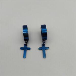 Cross Earrings Dangle Hoop Huggie Stainless Steel for Men, Women 2pcs 5 colors