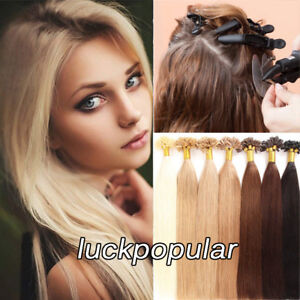 Pre Bonded Hair Extension Keratin U Tip Real Remy Human Hair Silky Straight 100S