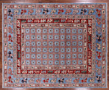 """8' 0"""" X 9' 8"""" Hand Knotted Wool Antiqued Pazyryk Historical Design Rug - Q1565"""