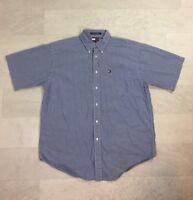 Tommy Hilfiger Mens Shirt Sz M Button Up Short Sleeve 90s Logo Blue Plaid Check