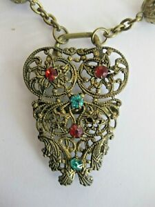 """Unique Metal Owl Pendant 2"""" w. Rhinestones: 18"""" Metal Chain Necklace with. Beads"""