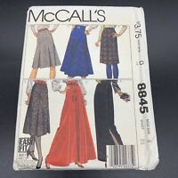 McCalls Vintage Sewing Pattern #8845 Misses Skirts in Misses Size 6 Uncut