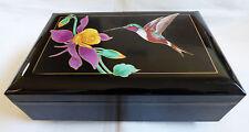 San Francisco Music Box Company Japan Jewelry Black Box Memories Humming Bird
