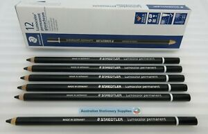 6 x Black Staedtler Glasochrom Chinagraph Lumo Pencil in stock tracked