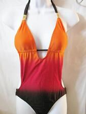 $88 Hotkiss Padded Ombre Colored 1 Peice Monokini Bikini Swimsuit Metal Trim S