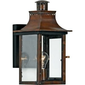 Quoizel 1 Light Chalmers Outdoor Wall Lanterns, Aged Copper - CM8408AC