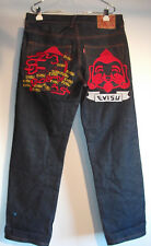 Evisu Blue Jeans Mens 34x32 Embroidered Budah Logo 100% Cotton