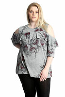 New Womens Top Plus Size Floral Frill Ladies Cold Shoulder Tunic Shirt Nouvelle