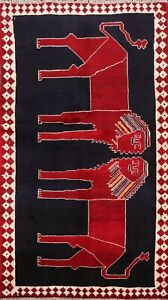 New Animal Pictorial Oriental Gabbeh Area Rug Wool Hand-knotted 4x6 Foyer Carpet