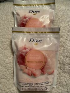 Lot of 2 Dove, Renewing Care Foaming Bath Salts,  Peony and Rose, 28 oz Each