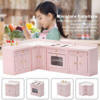 1:12 Wood Miniature Kitchen Cabinet Model Toys Cute Gift Dollhouse Furniture Set