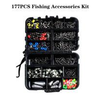 177PCS Tackle Box Swivels Snaps Fishing Accessories Kit Sinker Weights Jig Hooks