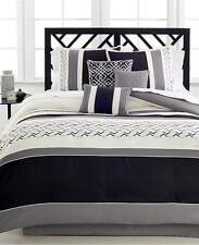 Hallmart Fletcher Bedding 7 Piece QUEEN Comforter Set BLACK/IVORY $200 C3026