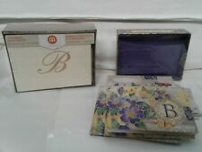 """30 monogram NOTE CARDS and envelopes letter """"B"""" 2 styles floral butterflies/crea"""