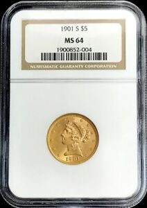 1901 S GOLD UNITED STATES $5 DOLLAR LIBERTY HEAD HALF EAGLE NGC MINT STATE 64