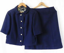 Vtg Saks Fifth Avenue Skirt Suit Wool Navy Blue Crop Short Sleeve Size M