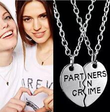"""2pcs """"Partners in Crime"""" Broken Heart Pendant Necklace Set Couple Friends BFF"""