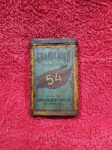 Vintage Granulated Sliced Plug 54 Pocket Smoking Tobacco Tin Can Antique