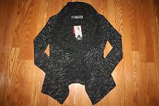 NWT Womens BNCI by BLANC NOIR Woven Black White Sweater Cardigan L Large