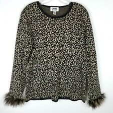 Chico's Leopard Print Feather Cuffs Pullover Linen Blend Sweater Sz 1