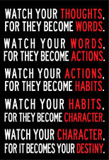 Watch Your Thoughts Motivational Poster Collections Poster Print, 13x19