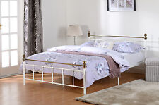 Marlborough Double Bed 4ft 6 White with Brass Effect Finish