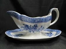 Copeland Spode's Camilla Blue, Blue Floral: Gravy Boat w/ Attached Underplate