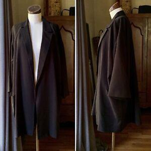 EILEEN FISHER NWT Notch Collar Boxy Jacket SILK Black XL $398