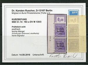 SBZ Nr: 183 a DV M139/3 + OR W Postfrisch Befund KW 350 M€ - Bilder im Angebot