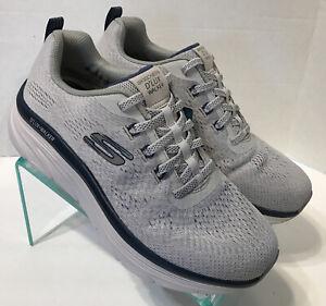 Skechers D'Lux Walker Commuter Gray Navy Blue Walking Shoes 232261 Mens Size 9.5