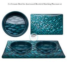 2 x Trixie Cat Kitten Ceramic Bowls & Feeding Mat Set short-nosed Breeds 0.3 l/ø
