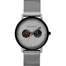Ted Baker Men's Silver Mesh Bracelet With Grey Analog Dial Watch 10031187 $185