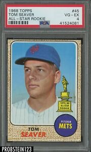 1968 Topps 45 Tom Seaver All-Star Rookie HOF New York Mets PSA 4 VG-EX