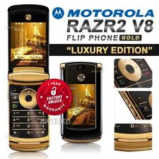 "Unlocked MOTOROLA RAZR2 V8 ""Luxury Edition"" Gold GSM Bluetooth Camera Flip Phone"