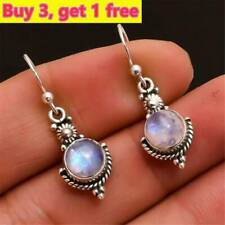 Newest Rainbow Moonstone Gemstone Jewelry 925 Sterling Silver Dangle Earrings.