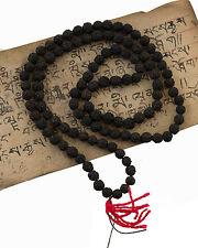 Collier rosaire graines de Rudraksha Mala tibetain teinte noire Ø 8mm 562 S4