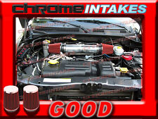 DUAL 04 05-11 DODGE DAKOTA//DURANGO//RAM//NITRO 3.7L V6 TWIN AIR INTAKE KIT+CHF Red
