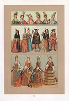 Vintage Moda Costume Stampa ~ Francia 17 & 18th Secolo Duchessa Madama Abbot
