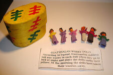 Set of  6 Small Handmade Guatemalan Worry Dolls~People,with box~uk seller~BIN
