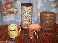 Vintage Tikis Wood Cup Glass Match Holder Toothpick Tiki Collectible lot of 4