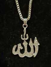 "Silver Allah Muslim Islam Iced Pendant Necklace 28"" Box Chain"