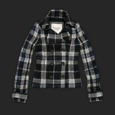 Abercrombie & Fitch Navy Blue Plaid Peacoat Jacket Womans XS New Hollister VTG @