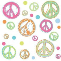 PEACE GLITTER SIGNS Wall Stickers Room Decor Decals Polka Dots Pink Green Blue